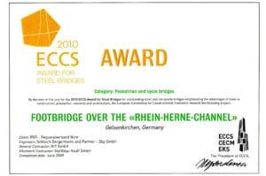 ECCS Award ein Europäischer Brückenbaupreis für Fuß und Radwegbrücken