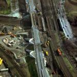 Hebung Knoten Oberhausen. 4 Brücken über den RHK und 3 Brücken über die Lindnerstr